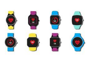 Smartwatch gratuito con icone di frequenza cardiaca vettoriale