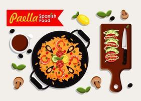 Paella cibo spagnolo vettore
