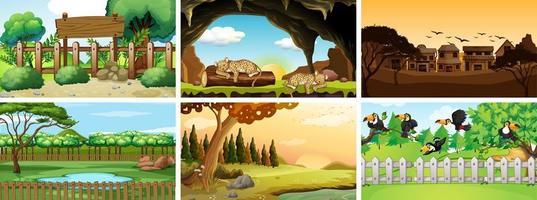 sei scene con animali nel parco vettore