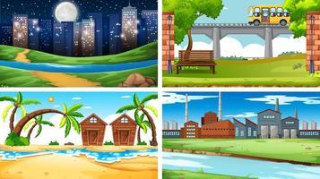 set di scene di città e spiaggia vettore