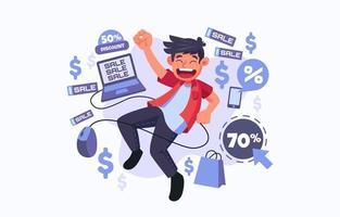 cacciatore di sconti sull'illustrazione di vendita di cyber lunedì