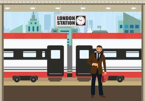 Illustrazione di vettore del treno in attesa dell'uomo di affari della stazione del TGV