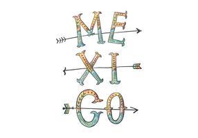 Messico lettering illustrazione vettore