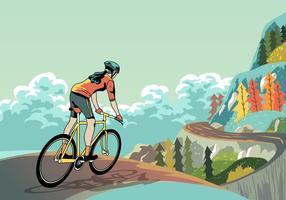 pista ciclabile giù per la montagna vettore