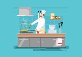 Cuoco libero che fa l'illustrazione della paella vettore