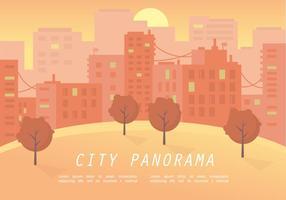 Illustrazione calda di vettore di panorama della città di tramonto