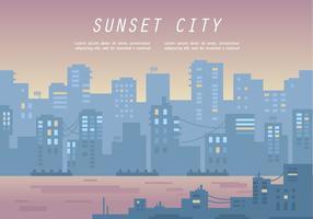Illustrazione fredda di vettore di panorama della città di tramonto
