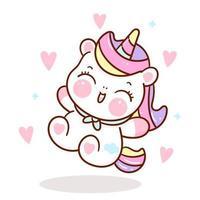 simpatico personaggio di fiaba unicorno con cuori vettore