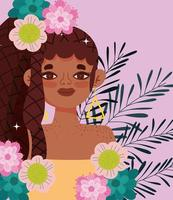 giovane donna afro-americana con fiori