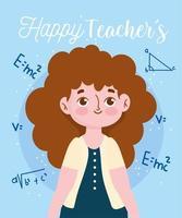 felice giornata dell'insegnante, insegnante e formula dell'equazione matematica vettore