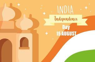 felice giorno dell'indipendenza india taj mahal e simbolo della bandiera vettore