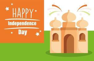 felice giorno dell'indipendenza india, monumento taj mahal vettore