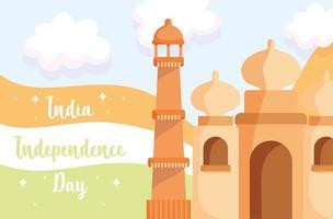 felice giorno dell'indipendenza india, cultura e bandiera del taj mahal vettore