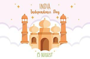 felice giorno dell'indipendenza india taj mahal design vettore