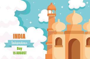 felice giorno dell'indipendenza dell'india taj mahal monumento indiano vettore
