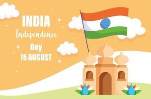 felice giorno dell'indipendenza india, taj mahal con la celebrazione della bandiera vettore