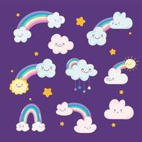 simpatici arcobaleni, nuvole e sfondi di stelle vettore