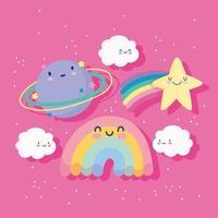 simpatico cartone animato arcobaleno, stella cadente, pianeta e nuvole vettore
