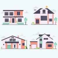 collezione di case urbane vista frontale