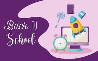 ritorno a scuola, computer, orologio, razzo e libri vettore