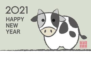 2021 anno del bue biglietto di auguri di capodanno