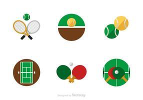 Icone di vettore di piatto di tennis