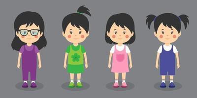 piccola ragazza bambini personaggi amichevoli