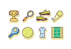 Set di icone di tennis gratuito vettore