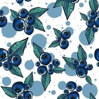 seamless con mirtilli e foglie vettore