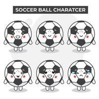 set di simpatici personaggi del pallone da calcio