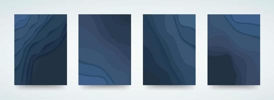set di carte a strati ondulati blu vettore