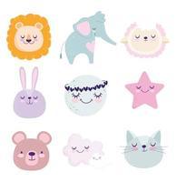 set di icone bambino simpatico cartone animato
