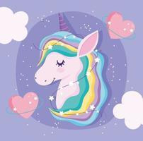 testa di unicorno magico con stelle e cuori