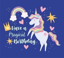 biglietto di auguri di compleanno con unicorno magico colorato vettore