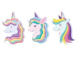 set di simpatiche teste di unicorno magico