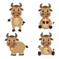 set di personaggi dei cartoni animati di mucca carina