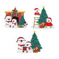 simpatici orsi in set a tema natalizio