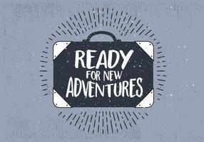 Viaggio disegnato a mano libera valigia con tipografia