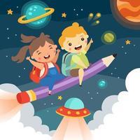 educazione per l'apprendimento e l'immaginazione dei bambini creativi vettore