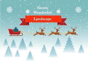 Paesaggio invernale vettoriale gratuito con renne