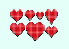 cuori di pixel vettoriale