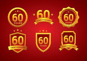 Vettore dell'oro di logo di anniversario di sessantesimo anniversario