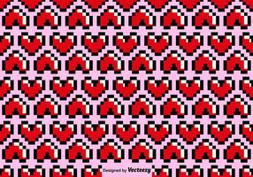 Modello senza cuciture del cuore di Pixelated di vettore