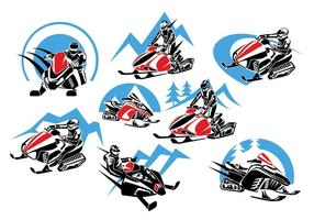Set di Logo Winter Snowmobile, emblemi, distintivi e icone