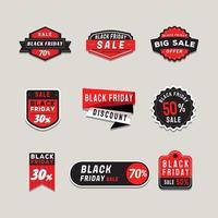 una raccolta di etichette di promozione della vendita del venerdì nero