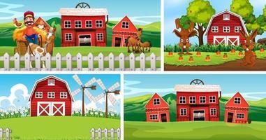 set di diverse scene di fattoria