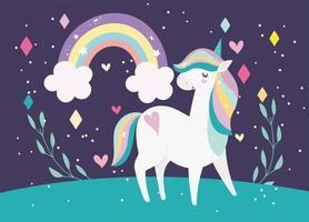 unicorno magico dei cartoni animati con banner arcobaleno vettore