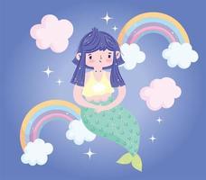 simpatica sirenetta con arcobaleni