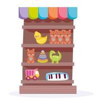 negozio di scaffali in legno con oggetti di giocattoli per bambini