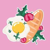cena di cibo. uovo fritto, pane e pomodori